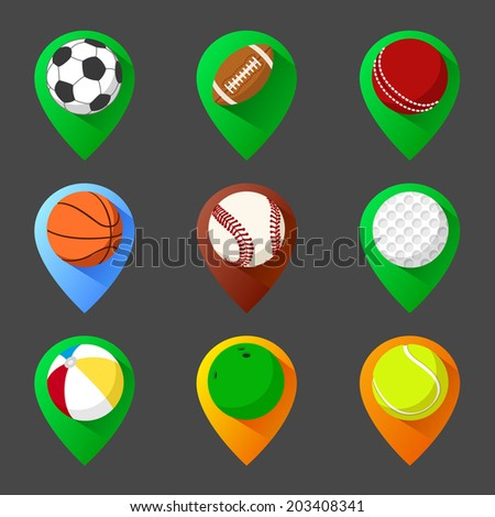 Mapping geo tag pin icon set with balls - stock vector