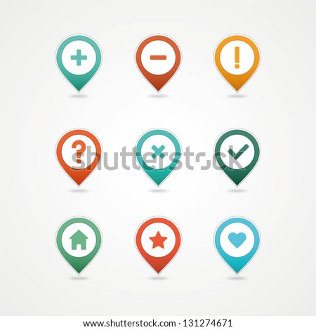 mapping pins icon - stock vector