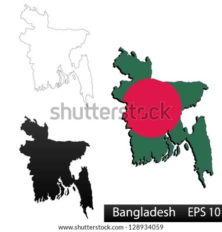 Maps of Bangladesh, 3 dimensional with flag clipped inside borders,and shadow, and black and white contours of country shape, vector