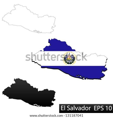 Maps of El Salvador, 3 dimensional with flag clipped inside borders,and shadow, and black and white contours of country shape, vector - stock vector