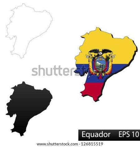 Maps of Equador, 3 dimensional with flag clipped inside borders,and shadow, and black and white contours of country shape, vector