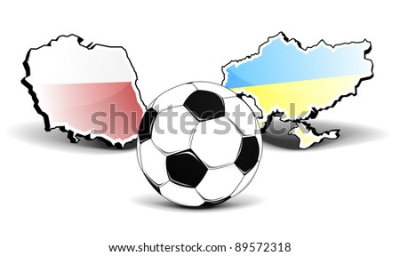 maps of poland and ukraine with a football in front, european football championship 2012, eps8 vector - stock vector