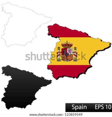 Maps of Spain, 3 dimensional with flag clipped inside borders,and shadow, and black and white contours of country shape, vector - stock vector