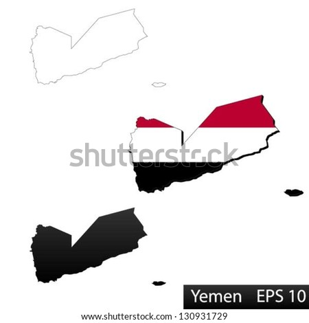 Maps of Yemen, 3 dimensional with flag clipped inside borders,and shadow, and black and white contours of country shape, vector - stock vector
