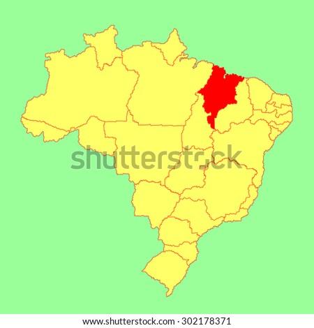 Maranhao, Brazil, vector map isolated on Brazil map. Editable vector map of Brazil.  - stock vector