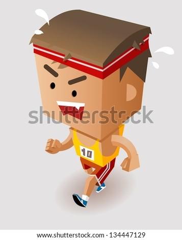 Marathon Player Running. Vector Illustration - stock vector