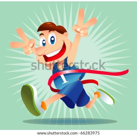 marathon runner - stock vector