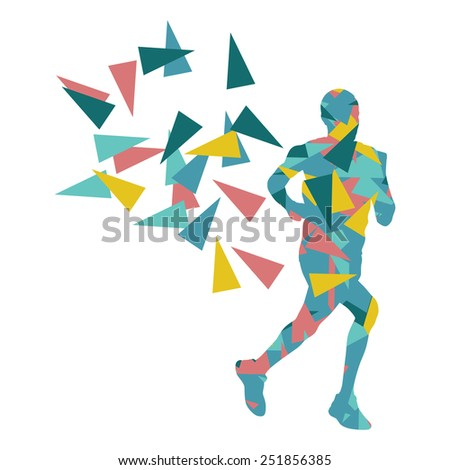 Marathon runner abstract vector background concept made of fragments - stock vector