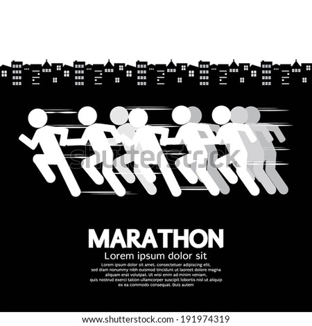 Marathon Runner Sign Vector Illustration  - stock vector