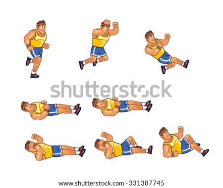 Marathon Runner Sliding Sprite - stock vector