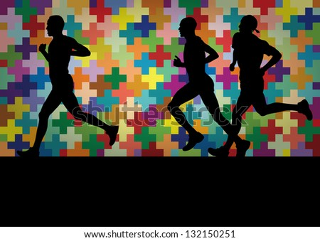 Marathon runners active man silhouettes  in colorful landscape background illustration - stock vector