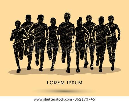 Marathon runners, crowd of people running, designed using grunge brush graphic vector. - stock vector