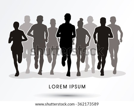 Marathon runners, crowd of people running graphic vector. - stock vector