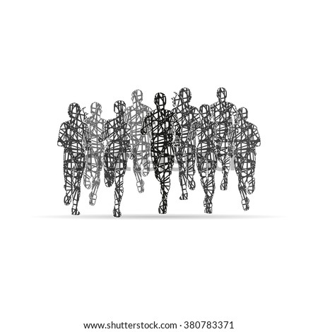 Marathon Runners, designed using black grunge brush graphic  - stock vector