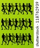 Marathon runners detailed active man and woman illustration silhouettes collection background vector - stock