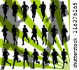Marathon runners detailed active man illustration silhouettes collection background vector - stock vector