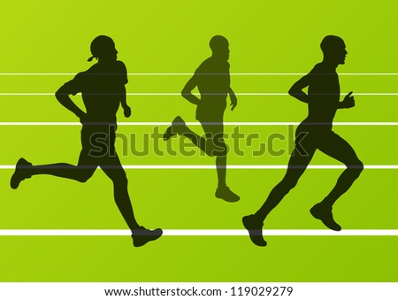 Marathon runners man running silhouettes in sport stadium landscape background illustration vector - stock vector