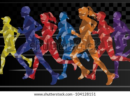 Marathon runners mosaic silhouettes colorful urban city road background illustration vector - stock vector