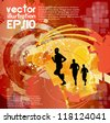 Marathon runners. Vector illustration - stock vector