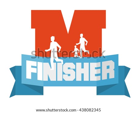 marathon running finisher. Flat vector illustration. - stock vector