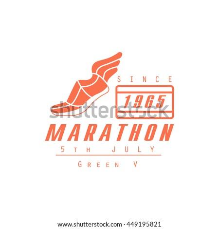 Marathon Running Orange Label Design