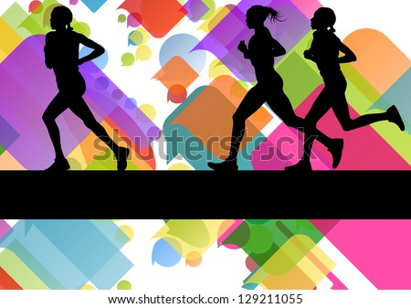 Marathon sport runners in colorful abstract background vector illustration - stock vector