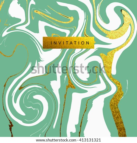 Marble textured wedding invitation card vector template  with white and glittering gold liquid acrylic drips on green background. Paint vortexes and whirl texture with marble imitation. - stock vector