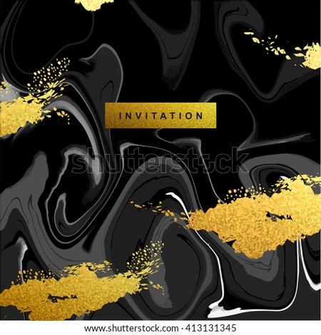 Marble textured wedding invitation card vector template  with white and glittering gold liquid acrylic drips on black background. Paint vortexes and whirl texture with marble imitation. - stock vector