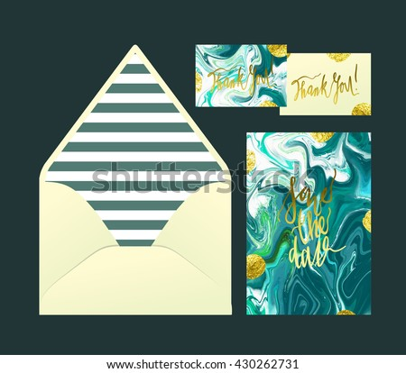 Marble wedding print set invitation cards stock photo photo vector invitation cards and envelope vector templates with sea blue and ocean stopboris Gallery