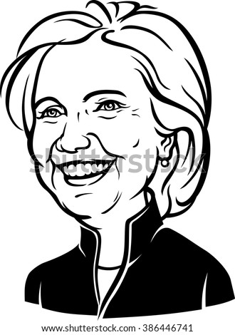 March 6, 2016: A Caricature Portrait of Democrat presidential candidate Hillary Diane Clinton on isolated background - stock vector