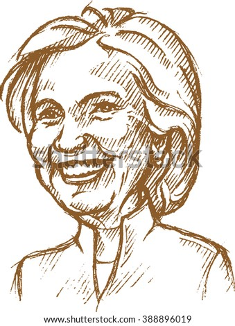 March 11, 2016: A Caricature Sketch Portrait of Democrat presidential candidate Hillary Diane Clinton on isolated background - stock vector