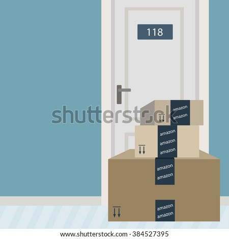 March 1, 2016: A vector illustration of Amazon packages delivered to front door. Amazon is the largest retailer in the world. - stock vector