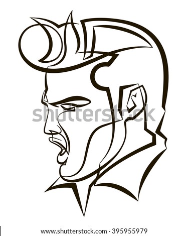 march 24 2016 a vector linear illustration of a portrait of singer elvis presley