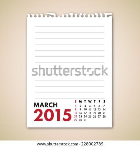 March 2015 Calendar Note Paper Vector  - stock vector