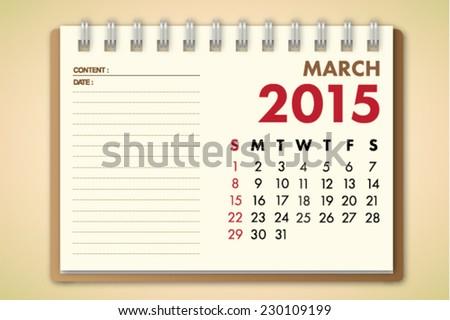 March 2015 Calendar Notebook Paper Vector  - stock vector