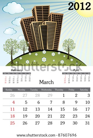 March. 2012 Calendar. Souvenir fonts used. A3 - stock vector