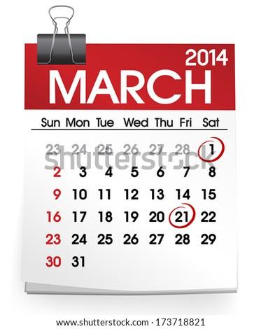 March 2014 Calendar Vector - stock vector