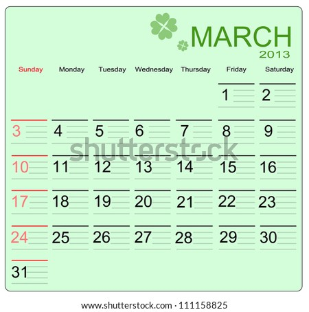 March 2013 calendar, vector illustration - stock vector