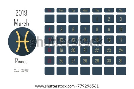 March Calendar  Horoscope Signs Zodiac Stock Vector