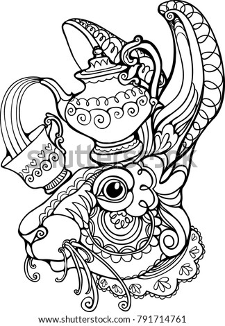 Mad bunny stock images royalty free images vectors for Alice in wonderland tea party coloring pages