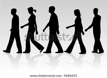 March of people , vectors work - stock vector