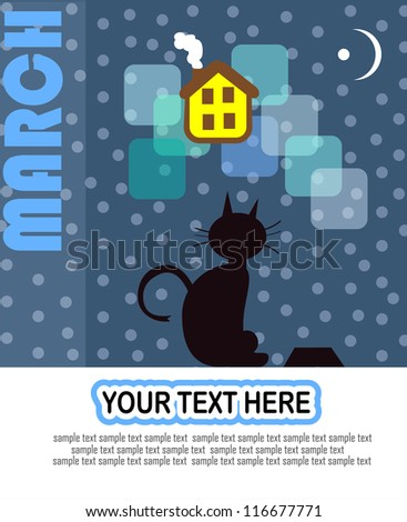 March vector design with black street cat looking for a  warm home - stock vector