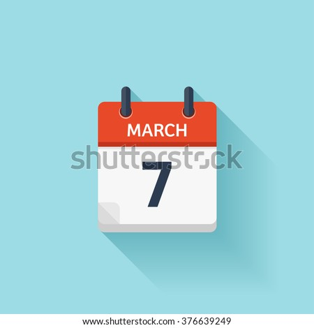 March 7. Vector flat daily calendar icon. Date and time, day, month. Holiday. - stock vector
