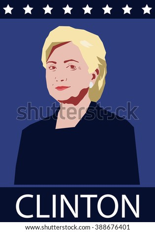 March 10, 2016: vector illustration of a portrait of Hilary Clinton - stock vector