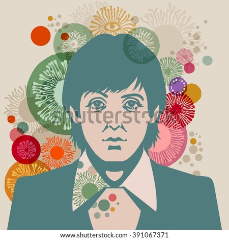MARCH 13 2016: Vector Illustration of Paul McCartney, eps10, vector - stock vector - stock vector