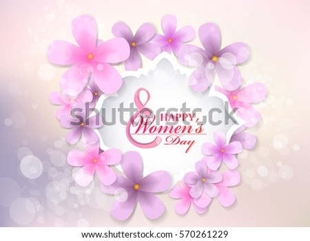 March 8 Women's Day. Beautiful label with pink flowers.