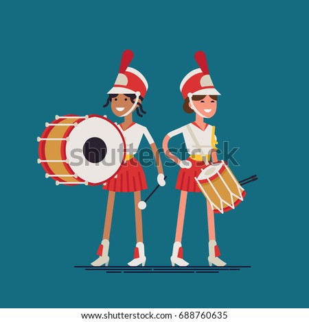 Marching band drummer girls. Flat vector character design on street music festival parade orchestra band female members wearing uniform, shako hats, snare and base drums