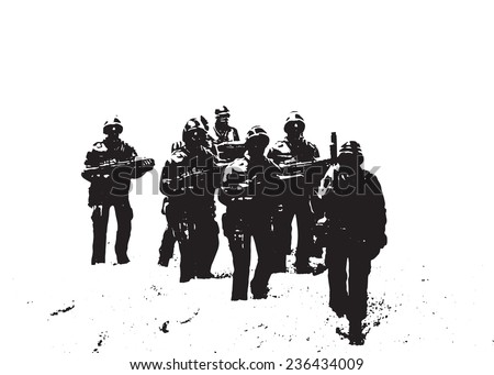 Marching soldiers - stock vector
