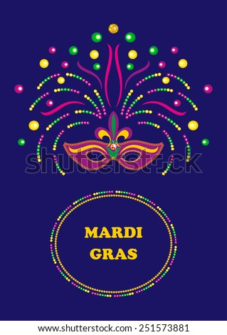 Mardi Gras carnival background  with mask and  beads