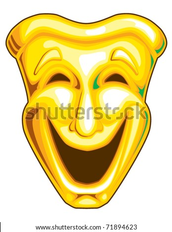 Mardi Gras Comedy Mask - stock vector